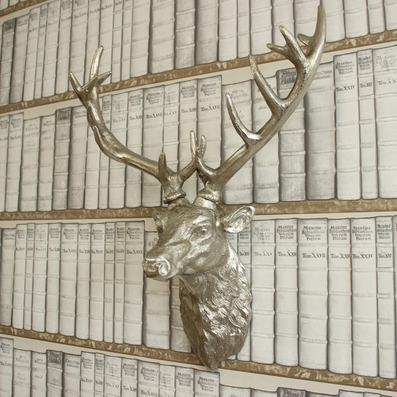 Large Silver Wall Mountable Stag Head