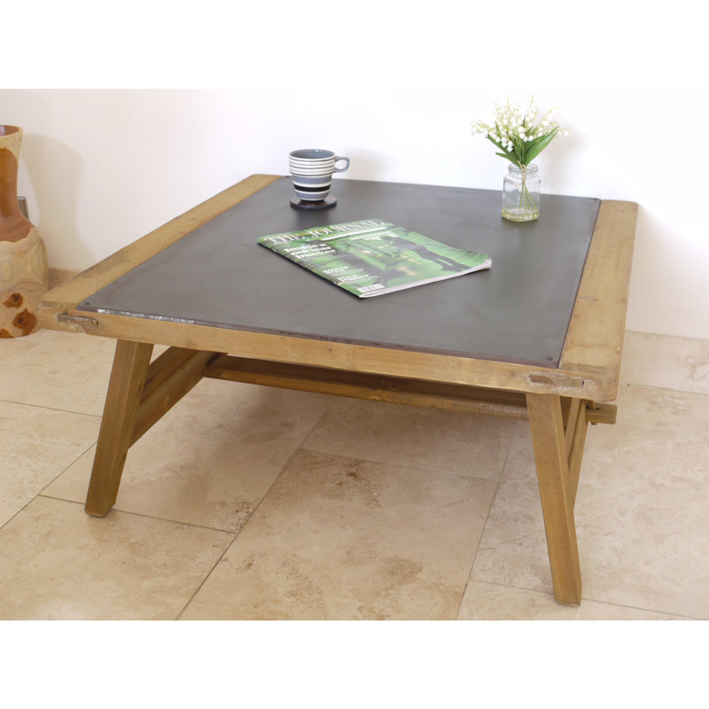 Large Wooden Rustic Industrial Style Coffee Table with Metal Top Insert