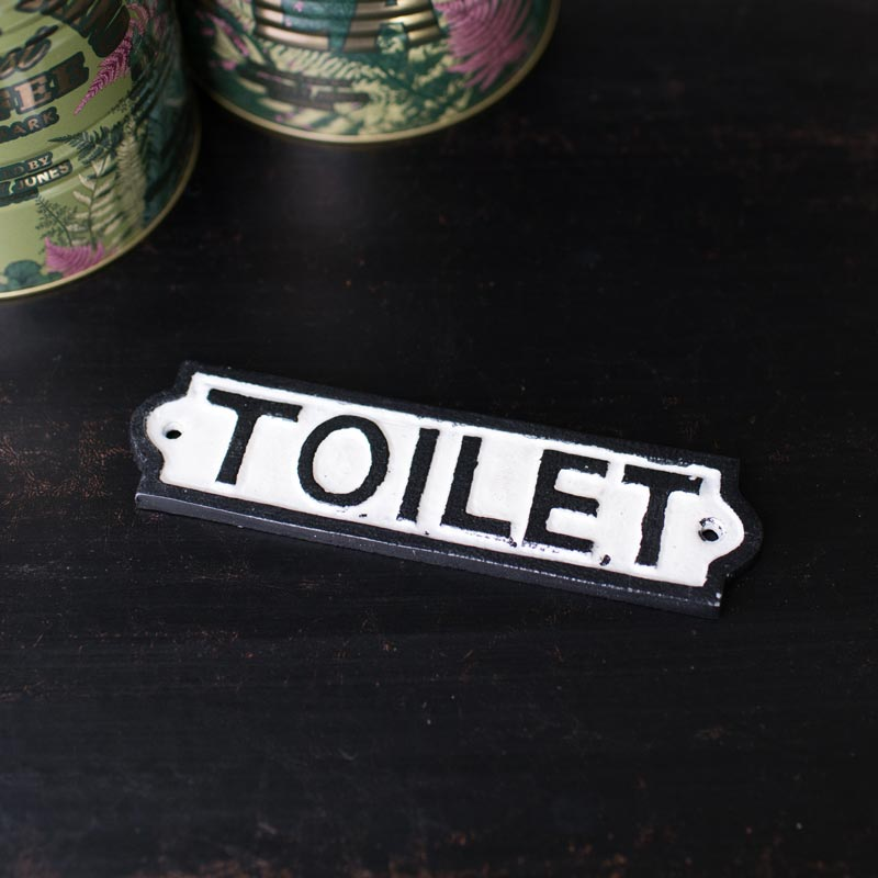 Black & White Metal Toilet Plaque