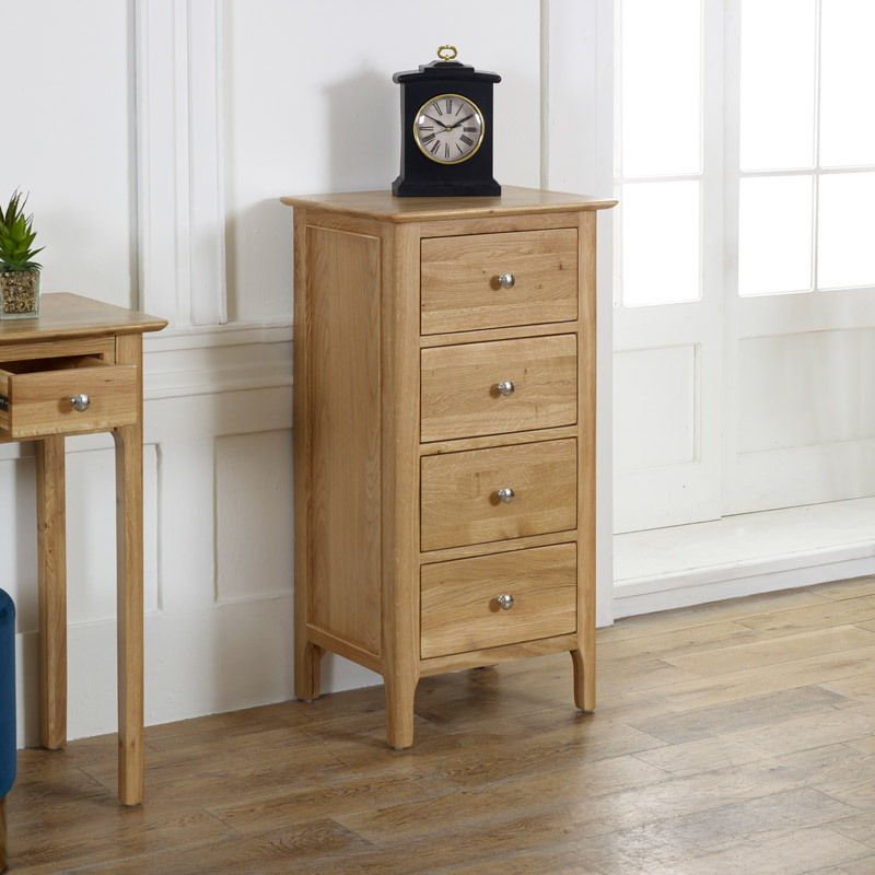 Oak Wood Tall Boy Chest of Drawers - Oakley Range