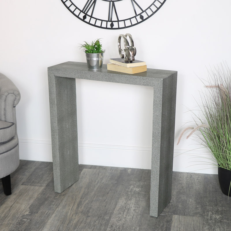 Slim Grey Leather Console Table