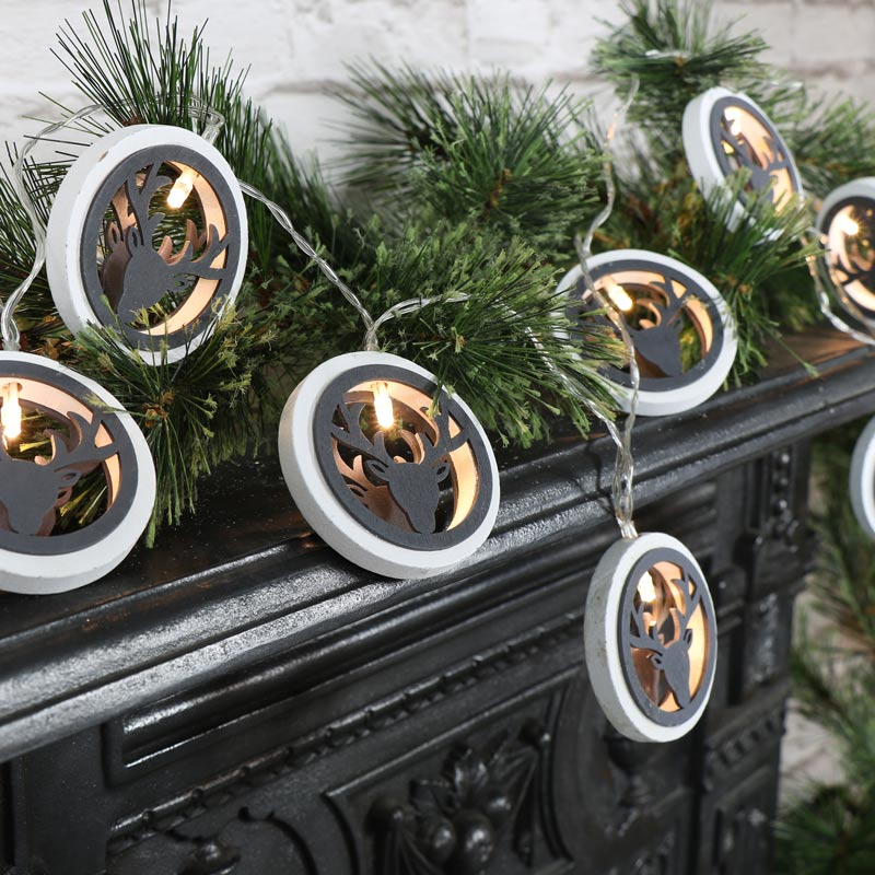 Rustic LED Stag Christmas Fairy String Lights