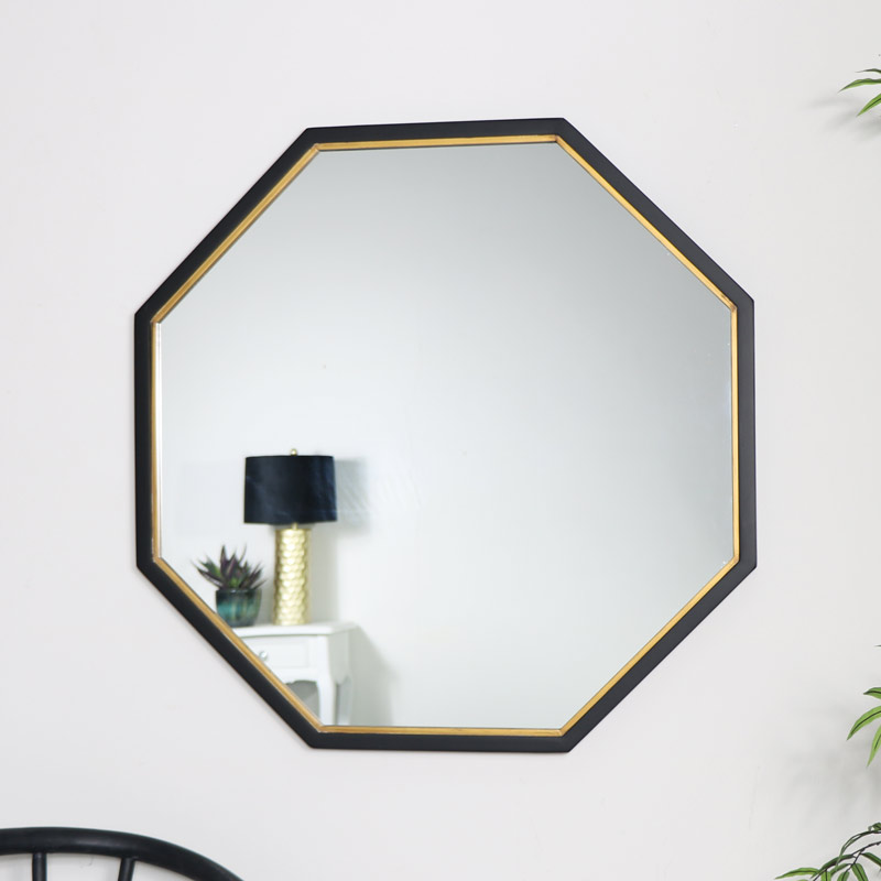 Black & Gold Octagon Wall Mirror