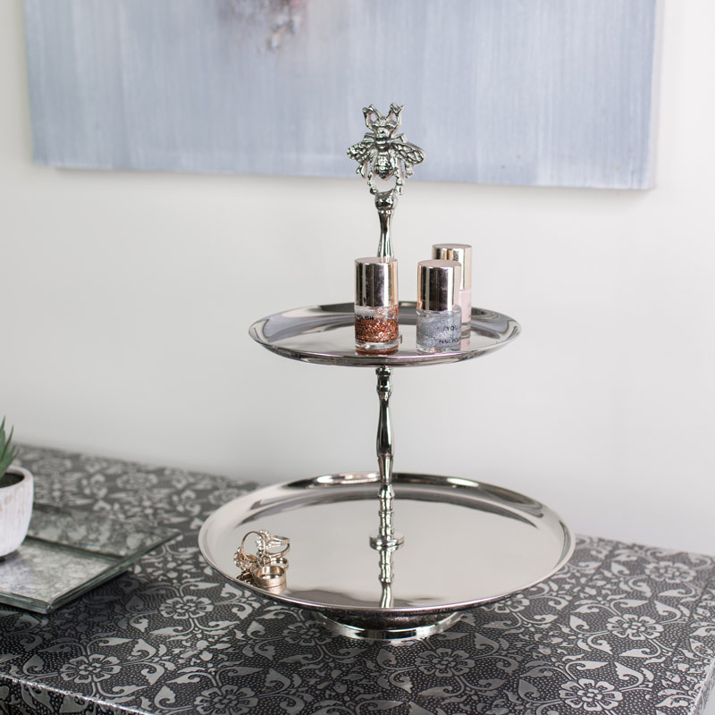Silver Bumblebee Two Tier Cake Stand