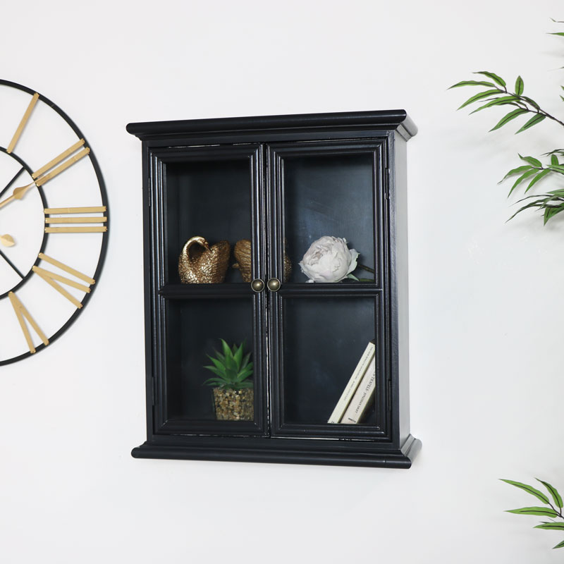Rustic Black Glass Wall Cabinet
