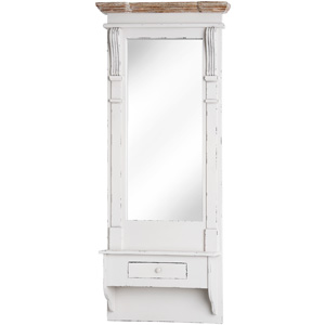 Cream Full Length Mirror With Shelf and Drawer - Lyon Range