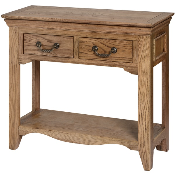 Oak Wood 2 Drawer Console Hall Table with Shelf - Wiltshire Range