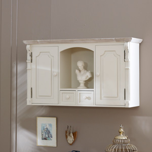 Lyon Range - Cream Cupboard with Shelf and Drawers