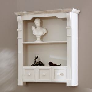Lyon Range - Cream Shelf Unit with Drawers