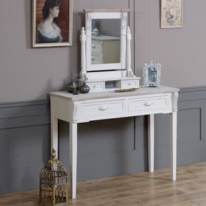 Cream Dressing Table and Mirror Dresser Set - Lyon Range