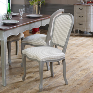 Grey Dining Table Chair with Beige Striped Padded Seating - French Grey Range