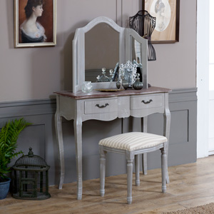 French Grey Range - Dressing Table with Stool and Triple Mirror