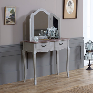 Ornate Dressing Table and Triple Mirror Set - French Grey Range