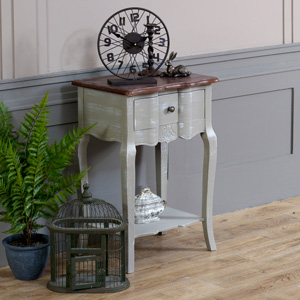 French Grey Range - Bedside Table with Shelf