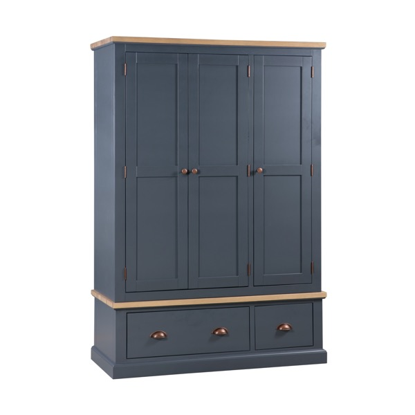 Large Dark Grey Triple Wardrobe Storage - Grayson Range