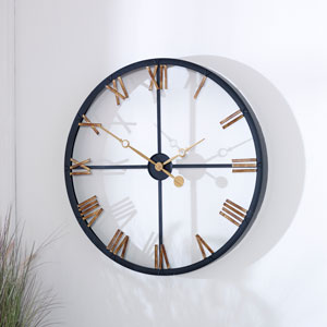 Large Black & Gold Modern Skeleton Clock