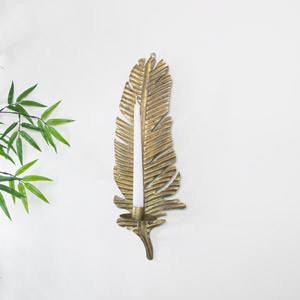 Antique Gold Feather Sconce