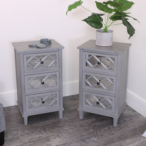 Pair of Grey Mirrored Bedsides/Lamp Tables – Vienna Range