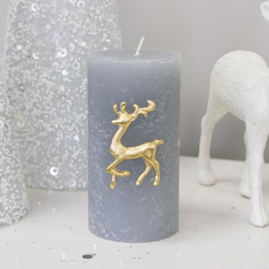 Gold Reindeer Candle Pin