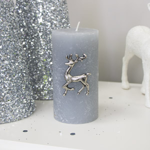 Silver Reindeer Candle Pin