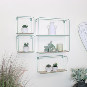 Set of 4 Green Metal and Wooden Shelves
