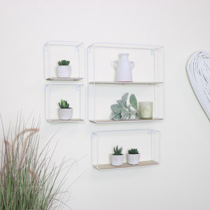 Set of 4 White Metal and Wooden Shelves