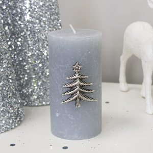 Silver Christmas Tree Candle Pin