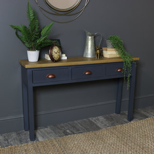 Dark Grey 3 Drawer Console Table - Grayson Range