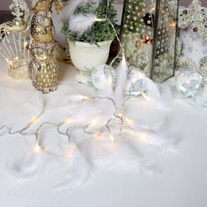 White Feather Garland Fairy Lights