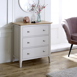 Grey 3 Drawer Chest - Devon Range