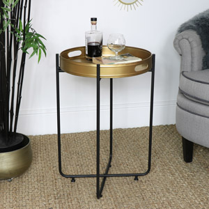 Gold & Black Tray Table