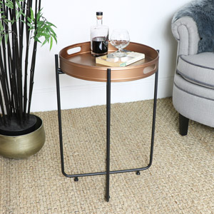 Copper & Black Tray Table