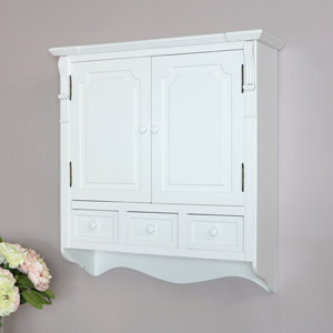 White Wall Mounted Cupboard with Drawers