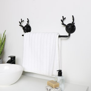Black Stag Towel Rail
