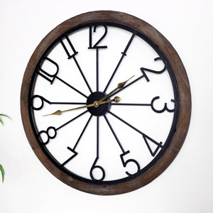 Large Wood & Metal Skeleton Clock