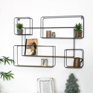 Large Rectangle Black Metal and Wood Wall Unit