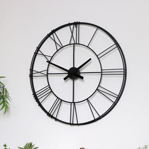 Large Black Metal Skeleton Wall Clock