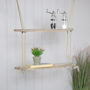 Rustic Wooden Rope Ladder Shelves