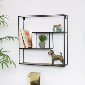 Square Black Metal Shelving Unit