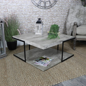 Square Industrial Concrete Style Coffee Table