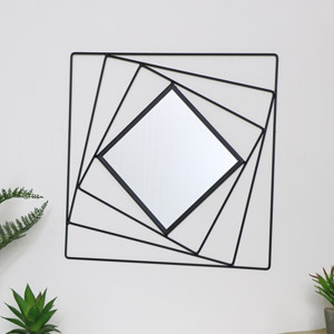 Black Square Wall Mirror 40cm x 40cm