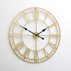 Large Gold Skeleton Wall Clock