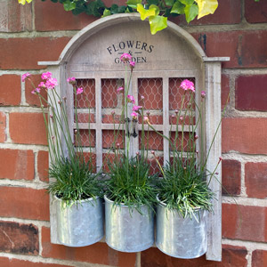 Rustic Window Style Wall Planter with 3 Pots