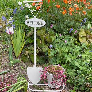 White Garden Spade Welcome Planter