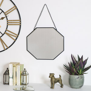 Black Octagonal Wall Mirror