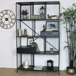 Large Grey Industrial Display Cabinet