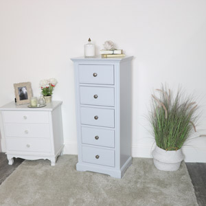 Grey 5 Drawer Tall Boy Chest - Davenport Grey Range