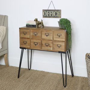 Brown Wooden 8 Drawer Sideboard Storage Unit
