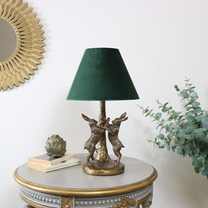 Antique Gold Hares Table Lamp with Green Shade