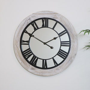 Large Wooden Mirrored Skeleton Clock